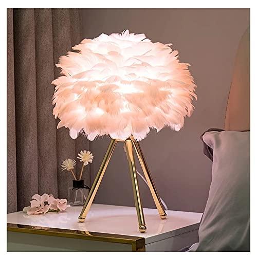 Lámpara de mesa de ganso pluma DIRIGIÓ Lámparas de mesa Lámpara de noche moderna para sala de estar Dormitorio Decoración navideña Lámpara de plumas romántica E27 LED Luz de escritorio (Color : B)
