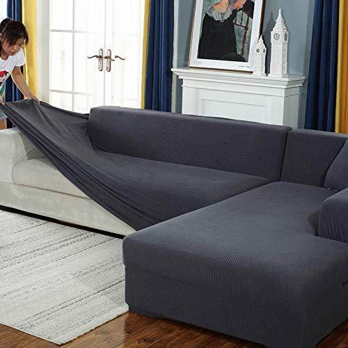 JHLD Alto Elasticizzato Fodere Copridivani, Universale Chaise Longue Sofa Copridivano Spandex Silicone Antiscivolo L Adatto per Copridivano Cane Gatto-E-Large + Large