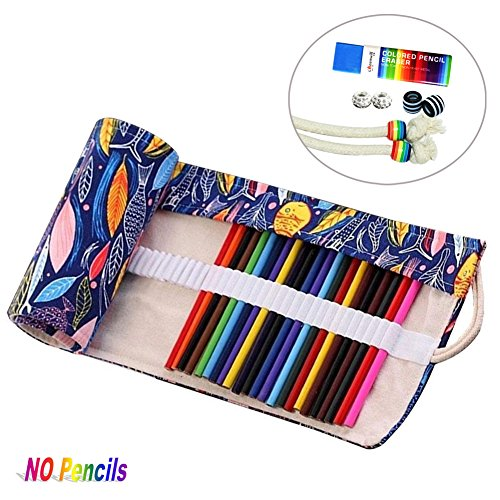 72 Slots Canvas Pencil Wrap Colored Pencils Roll Up Case Pure Handmade Pencil Pouch Travel Drawing Coloring Pencil Roll Holder Organizer (Fish)