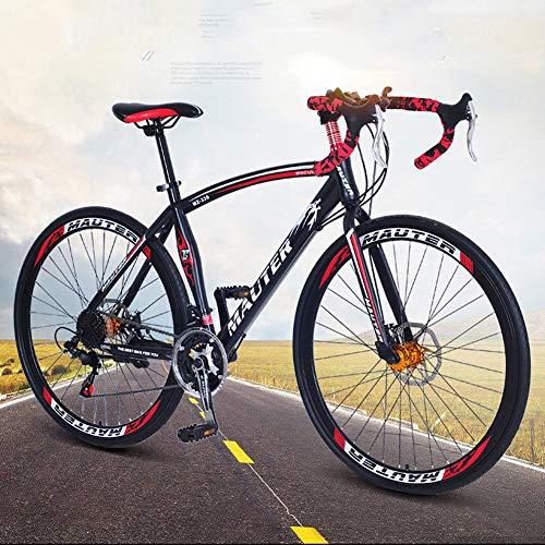 HUWAI Las Bicicletas de montaña Bicicletas de Doble Disco de Freno, de 21 velocidades, Ligero y Duradero Hombres Mujeres Bicicletas, Bicicleta de Carretera de Carbono