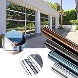 KINLO 300 x 75cm Spiegelfolie Sonnenschutzfolie Ohne Kleber für Fenster Sichtschutzfolie aus PVC 99% UV-Schutz Privatsphäre Glas Fensteraufkleber Fensterfolie (Silber)