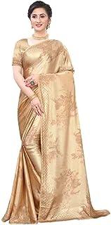 Printed Designer Eid Festival Pure Satin Saree Swarovski Indian WOman Party Sari Blouse pc 5369