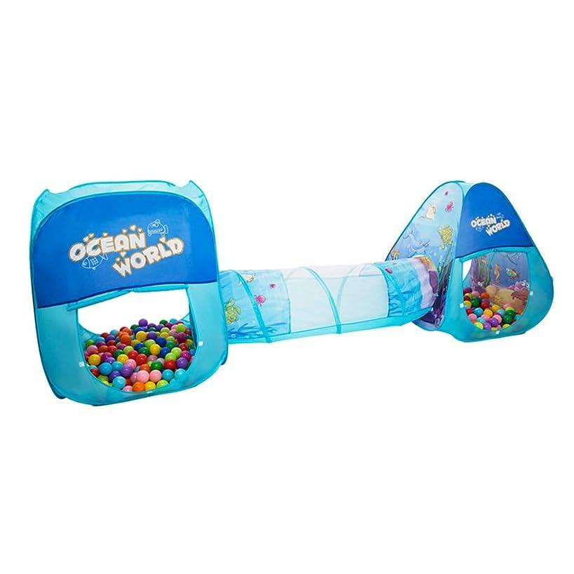 ゲームテントホームクロールトンネル屋内子供のおもちゃのトンネルゲームハウス子供安全フェンス折りたたみ送信子供の贈り物 (Color : BLUE)