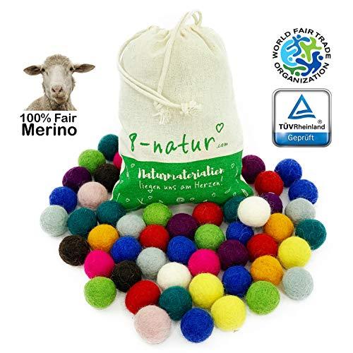 """8-Natur """"Mix Ferien"""" Bunte Mischung aus 50 Filzkugeln 2,2cm dick aus Reiner Merinowolle zum Basteln von Girlanden, Baby Mobile und Filzkugelteppich oder einfach nur zur Deko"""