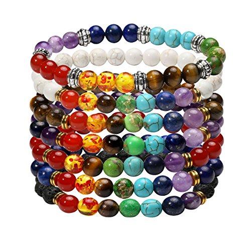 EIGSO 7 Pcs 7 Chakra Bracelets Set for Women Men Reiki Healing Meditation Lava Rock Stone Crystal Beads