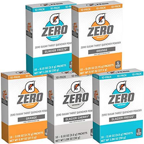 Gatorade G Zero Powder, Glacier Cherry Variety Pack, 0.10oz Individual Packets (50 Pack)