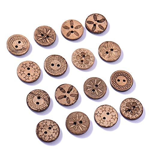 Chifans 50 STÜCKE Brown 2 Löcher Runde Knöpfe Kokosnussschale Knöpfe DIY Holz Antike Knöpfe Mini Blume Tasten Zarte Knöpfe zum Nähen und Basteln von Dekorationen