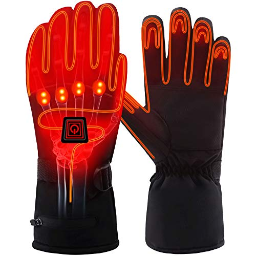 QILOVE Winter Warm Electric Heated Gloves Rechargeable Battery Powered Men Women Snow Gloves Cold Weather Gloves Liners Hunting Skiing Waterproof Touch-Screen (Heated Gloves-L)