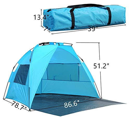 ShinyFunny Portable Beach Canopy Pop Up Sun Shelter Instant Half Sun Beach Tent with Carry Bag