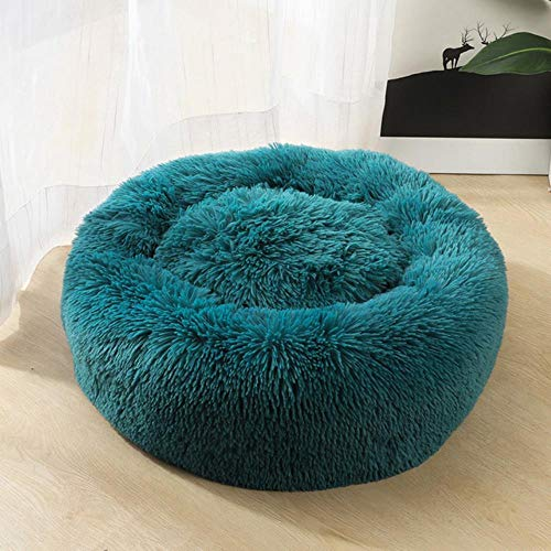 YLCWZD Pet House Colorful Cat Sofa Sleeping Bed Round Doghouse For Dogs Pets Products Kennels Mat Basket Couch For Small Big Medium Dog Cat,Cyan Blue,Od 100Cm