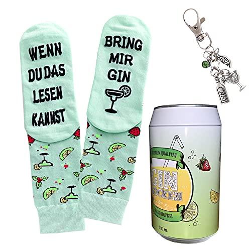 Gin-Socken mit Gin Schlüsselanhänger in einer Design-Dose, Geschenke für Frauen und Männer, If you can read this, bring me Gin, Geburtstagsgeschenk (Grün)