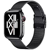 ZXCASD Compatible with Apple Watch Bands 44mm 42mm 40mm 38mm Folding Buckle Mesh Adjustable Strap Wristband Stainless Steel Loop for iWatch Series SE/6/5/4/3/2/1 for Men Women(Black,42mm 44mm)