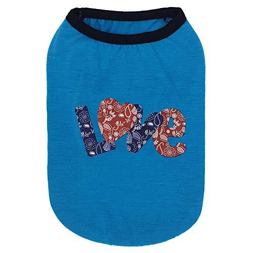 HUINI Haustier Hunde Sommershirt Hundekleidung Hundehemd Baumwolle Atmungsaktiv Bequem Haustierweste Druckshirt für Kleine Mittlere Hunde Welpen T-Shirt Hunde und Katzen Blau Love L