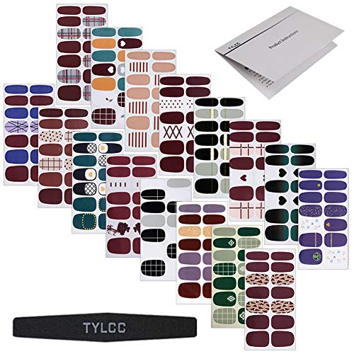 TYLCC 16 Sheets Nail Stickers,Full Wraps Self-Adhesive Nail Art Adhesive Decals Nail Art Tips Stickers False Nail Design Manicure Designs for Women Girls with 1Pc Nail Buffers Files