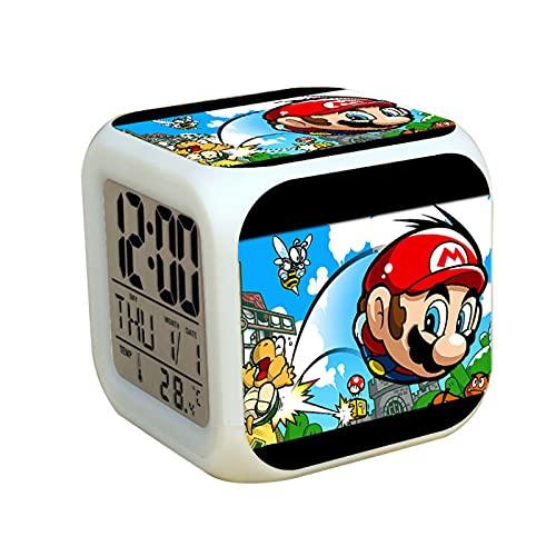 Super Mary - Reloj despertador Super Mario Brotherss para sala de estar, Navidad, cumpleaños, regalo de vacaciones.