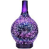 120ml Difusor de Aromas 3D Efecto, Difusor Aromaterapia con Luz Nocturna de 7 Colores, Humidificador Aceites Esenciales Ultrasónico, Humidificador Bebés con Lámpara Fragante, (fuegos Artificiales 3d)