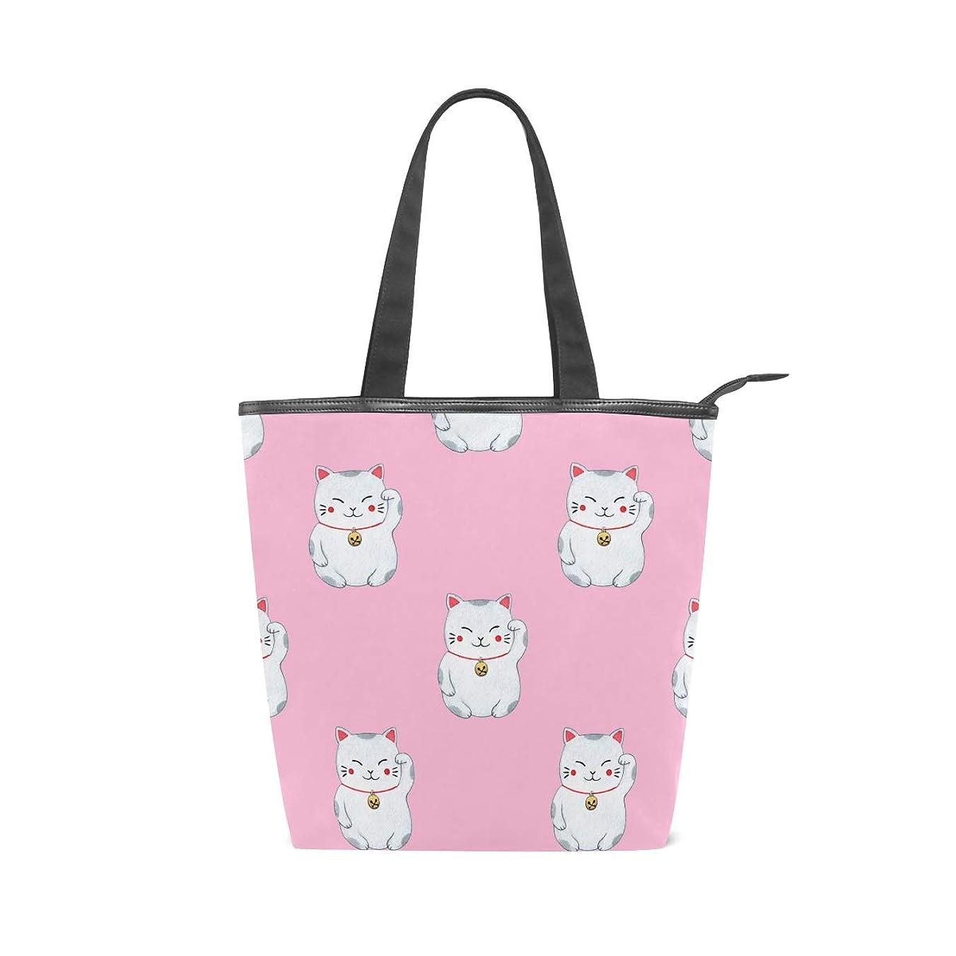 辞任する経済財布キャンバスバッグ トートバッグ ハンドバッグ 手提げ 招き猫 可愛い ピンク 大容量 通勤通学 メンズ レディース