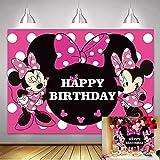 NSY Fondo de fotografía de Minnie Mouse de 210 cm x 150 cm, diseño de princesa, color rosa caliente, decoración para niños, fiesta de bebé, suministros de banner de estudio (210 cm x 150 cm)
