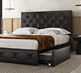SHA CERLIN Queen Size Bed Frame with 4 Storage Drawers, Faux Leather Upholstered Storage Bed Frame, Easy Assembly, Dark Brown-Black