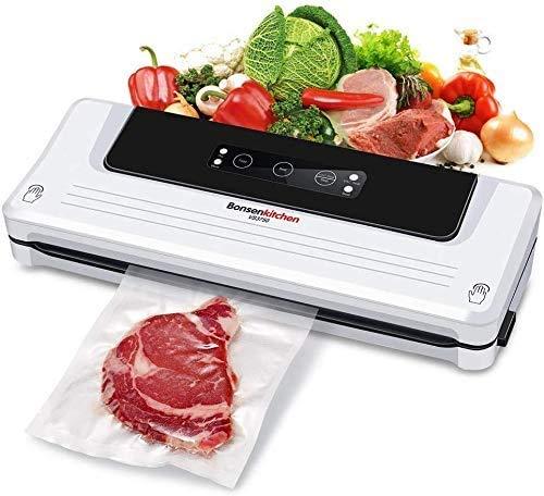 Bonsenkitchen Vakuumiergerät, Vakuumierer Folienschweißgerät für Sous Vide Kochen und Lebensmittel Bleiben bis zu 8x Länger Frisch | Trocken und Feucht Modi | Vakuumbeutel Inklusive (Weiß, VS3750)