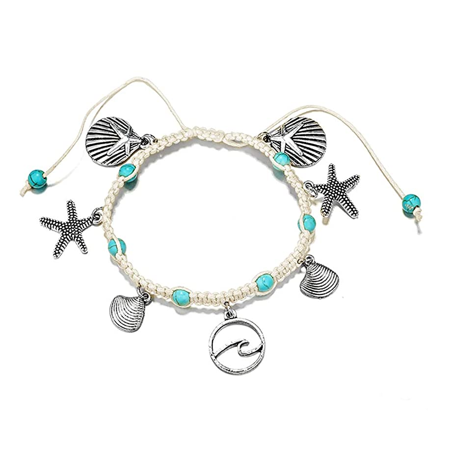 7th Moon Wave Shell Anklets Bracelet Boho Starfish Turtle Handmade Woven Foot Chain Beach Jewelry for Women Girls