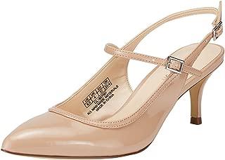 JENN ARDOR Mid Kitten Heels Stiletto Pumps Pointed Toe Slingback Dress Sandals Low Heels Ankle Strap Wedding Party Pumps