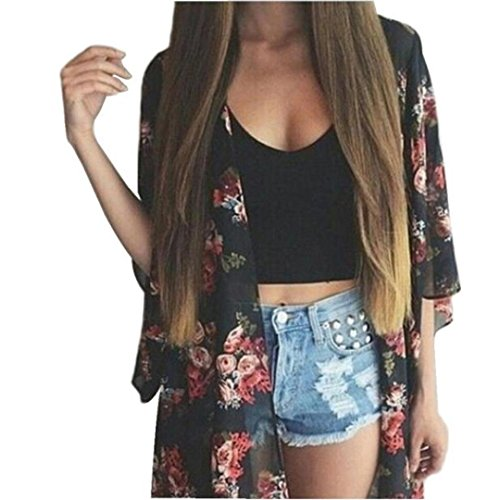 DEELIN Summer Women Floral Printed Chiffon Kimono Cardigan Shawl Blouse Tops Cover Up (S, Negro)