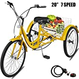 Happybuy Adult Tricycle 1 Speed 7 Speed Size Cruise Bike 20 Inch...
