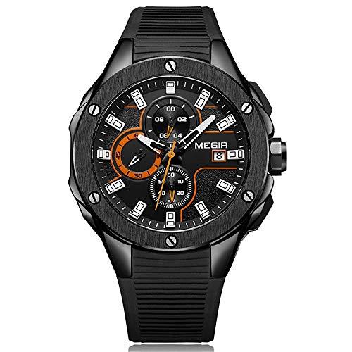 Reloj Deportivo de Moda para Hombre con cronógrafo Reloj de Pulsera Militar de Cuarzo de Silicona Impermeable para Hombre Reloj Masculino Masculino