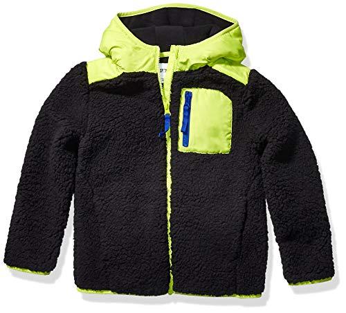 Spotted Zebra Hooded Sherpa Fleece outerwear-jackets, schwarz/lindgrün, Large / 10