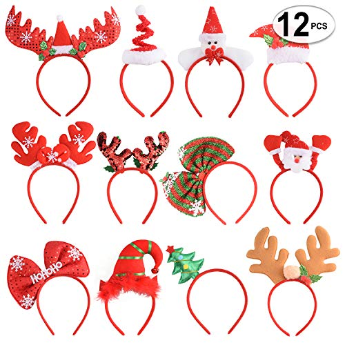 12 PCS Holiday Headbands,Cute Christmas head hat toppers,Flexibility to Fit All Sizes,Great Fun and Festive for Annual Holiday and Seasons Themes, Christmas Party,Christmas Dinner,photos booth.