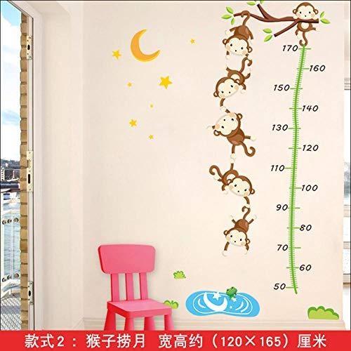 Pegatinas decorativas de dibujos animados pegatinas de pared para medir la altura del bebé pegatinas de altura extraíbles autoadhesivas para animales-Monkey fishing month_Big