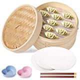 10 Inch Bamboo Steamer Basket with 2 Tiers Bamboo Steamer with Lid for Asian Cooking Dim Sum Dumplings, Fish, Meat, Includes 2 Pairs of Chopsticks, 2 Sauce Dish and 50 Paper Liners