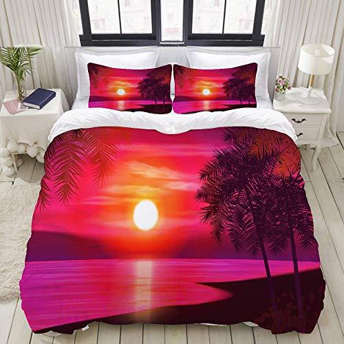 Rorun DuvetCoverSet, Sommernachtpalmen auf Hintergrund, ColourfulDecorative3PieceBeddingSetwith2PillowShams