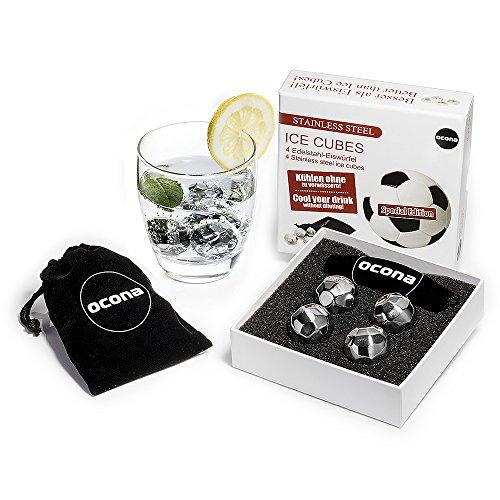 ocona© Whisky Steine Ice Cubes – 4 Wiederverwendbare Edelstahl Eiswürfel + Stoffbeutel | 4er Set Whiskey Rocks Stones Geschenk Set