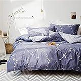 Softta Space Constellation Bedding Set Star Map Universe Galaxy Duvet Cover Full 3 pcs 100% Cotton Gray Blue Purple for Teen Boys Girls Men Women