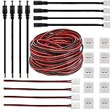 FSJEE Il kit di connettori LED da 2 pin da 8 mm include un cavo di prolunga da 32,8 piedi 22 AWG, un cavo di collegamento per adattatore CC da 8 mm, connettori Gapless per striscia LED 3528/2835