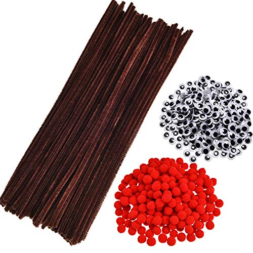750 Pieces Christmas Pipe Cleaners Set, Including 150 Pieces Brown Pipe Cleaners Chenille Stems, 200 Pieces Red Pom Poms and 400 Pieces Wiggle Googly Eyes for Christmas DIY Crafts Making