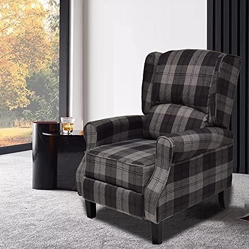 Single Reclining Chairs Checked Fabric Wing Back TV Armchair Sofa Theater Cinema Gaming Chair Grey Tartan