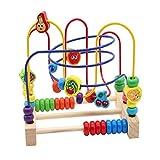 Nuheby Motorikschleife Motorikwürfel Holzspielzeug Baby mit 3 Farbspuren und Fruchtperlenlabyrinth