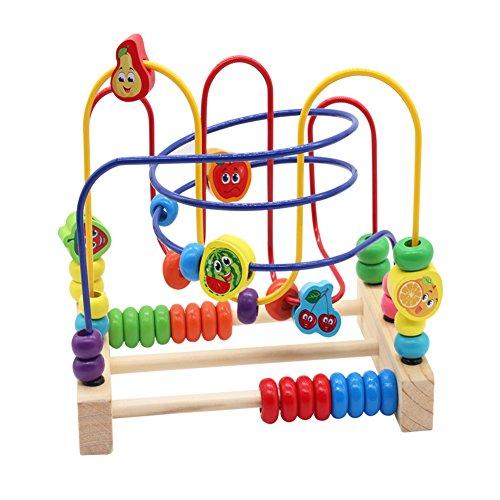 Nuheby Giochi in Legno per Bambini,Labirinto Roller Coaster con Frutta Bead Maze Gioco Perline Giochi Educativi Regalo Ragazza Ragazzo 3 4 5 6 Anni
