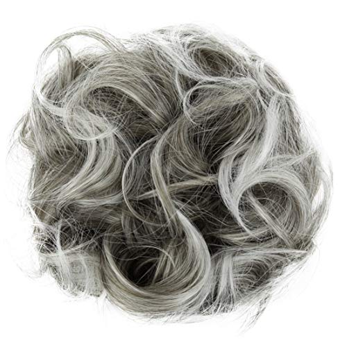 PRETTYSHOP XL Haarteil Haargummi Hochsteckfrisuren Brautfrisuren Voluminös Gelockt Unordentlich Dutt Grau Mix G19E