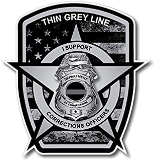 Thin Grey Line Badge Decal Correctional Officer Car Truck Vinyl USA Police Jeep Military Lives Matter