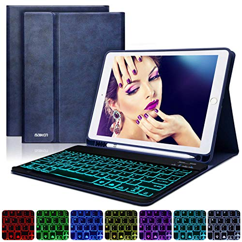 BAIBAO Funda Teclado para iPad 2018, Funda con Teclado para iPad 9.7/iPad 2018(6th Gen)/ iPad 2017/iPad Air 2/1 Funda Bluetooth Inalámbrico 7 LED Retroiluminado (Azul Oscuro)