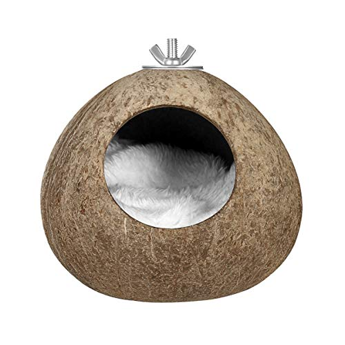 Balacoo Guscio di Cocco Casetta per Uccelli- Guscio di Cocco Naturale Nido di Uccello Capanna Gabbia Allevamento per Pappagallini Pappagallini Parrocchetto
