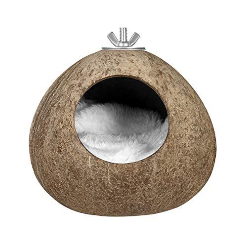 Balacoo Caseta de coco para pájaros - Cáscara de coco natural, nido de pájaro, jaula, cría para periquitos, periquitos