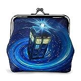 Tardis Time and Relative Dimensions in Space Doctor Monedero de cuero con cierre de gran capacidad para mujeres y hombres cambio monedero monedero monedero bolsa de almacenamiento bolsas de embrague