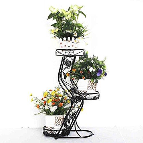 QFF Cadre de fleurs de style européen plancher de style pots de fleurs balcon cadre bonsai multi-étages rayon vert fleur rack salon intérieur porte-fleurs bonsaï ( Couleur : Noir )