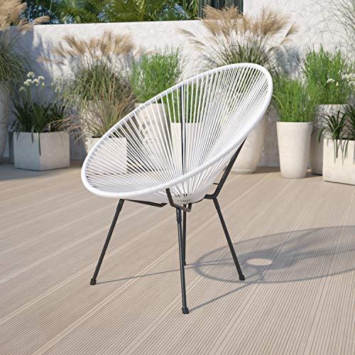 Flash Furniture Valencia Oval Comfort Series Take Ten White Rattan Lounge Chair