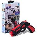AR BLASTER Augmented Reality 360 Degree Portable Gaming VR Gun: Wireless Bluetooth Controller Toy Pistol for iOS Phone and Android Smartphones - FREE App With 35 Plus Games Action Learning - Red
